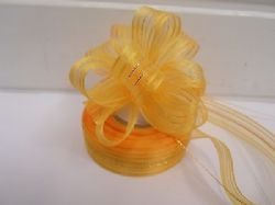 Light Orange 2 or 25 metres 25mm Fasbo Pull Bow Ribbon Roll Craft Double Side Bows UK